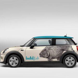 Lateral derecho de rotulacion de coche Mini Boldfish. Rotula tus coches con la mejor empresa de rotulacion en Madrid. Prorotul rotulacion profesional para coches.