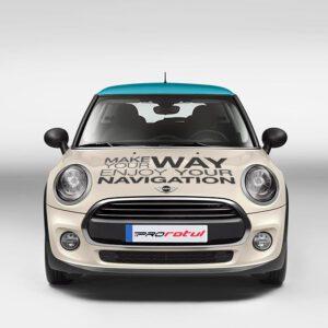 Frontal de rotulacion de coche Mini Boldfish. Rotula tus coches con la mejor empresa de rotulacion en Madrid. Prorotul rotulacion profesional para coches.