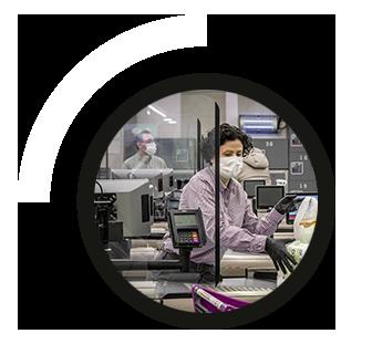 mampara de seguridad de metacrilato anticontagio Coronavirus para Supermercados