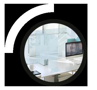 mampara de protección de cristal templado para Oficinas