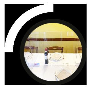 mampara de seguridad de metacrilato anticontagio Coronavirus para Restaurantes